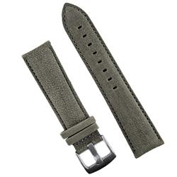 22mm gray Sueded Leather Watch Band Strap with matching stitching