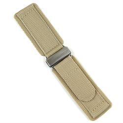 20mm Nylon Velcro Watch Band Strap in Khaki Sand with a Stainless Steel Buckle