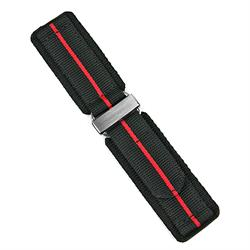 24mm nylon velcro watch strap in black nylon with a red stripe
