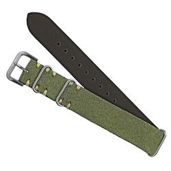 Birch Vintage Suede Nato Watch Band Strap Italian Vintage Leather Ecru Handsewn Stitching 20mm 22mm