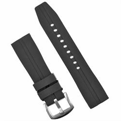 BandRBands 22mm Black Silicone Watch Band Strap