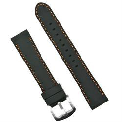 Black Silicone Watch Band Strap with Orange Stitching 22mm