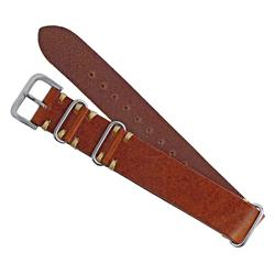 Cognac Vintage Leather Nato Watch Band Strap Italian Vintage Leather Ecru Handsewn Stitching 20mm 22mm