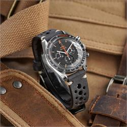 B & R Bands Black Italian Vintage Leather Racing Rallye Watch Band Strap Omega Speedmaster SpeedyTuesday Watch 20mm