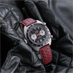 Heuer Corfam Racing Rallye Watch Band Strap in Red Italian Calf Leather 20mm Heuer Autavia Watch