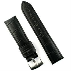 24mm Black Gator Leather Watch Band strap with a matching stitch