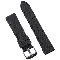 B & R Bands 22mm Black Sailcloth Waterproof Watch Band Strap with a matching black stitch