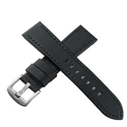 20mm Black Sailcloth Waterproof Watch Band Strap with a matching black stitch