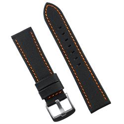 BandRBands 20mm Black Sailcloth Waterproof SailCloth Watch Band Strap with orange stitching