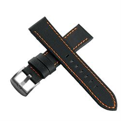 Sailcloth waterproof Watch Band Strap in black with orange stitching in 20mm 22mm 24mm lug widths