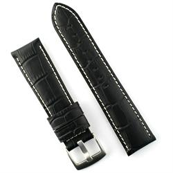 24mm Black Gator Leather Watch Band Strap with white stitching