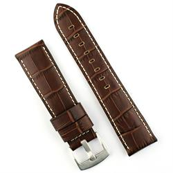 22mm Brown Gator Leather Watch Band Strap