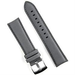 24mm Gray Kevlar Style leather watch band strap with a matching stitch