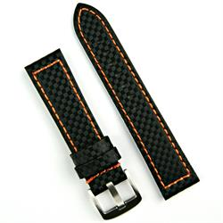 20mm black carbon fiber leather watch band strap with orange stitching