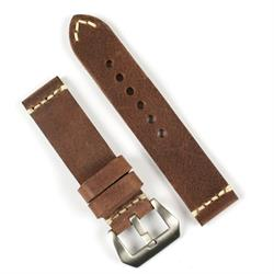 Panerai Vintage Leather Watch Band Strap made from Russet Italian smooth leather with a minimal ivory stitch
