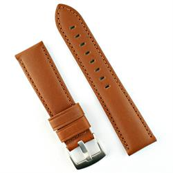 24mm Tan Calf Leather Watch Strap Band with a matching stitch
