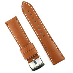 24mm Tan Calf Leather Watch Band Strap with White Stitching