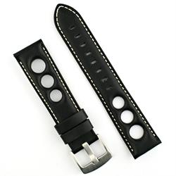 22mm Rally Watch Strap Band in black horween leather and white stitching