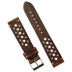 20mm 22mm Chestnut Italian Leather Vintage Racing Watch Strap Band with handsewn khaki stitching BandRBands