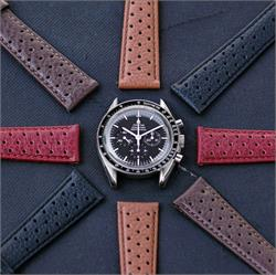 Racing Watch Straps for the Omega Speedmaster Professional available in Black Brown Tan Red Italian grain calf leather