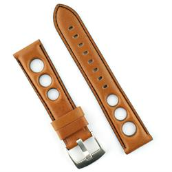 22mm Rally Strap Band in Honey Brown Horween Leather with black stitching-BandRBands