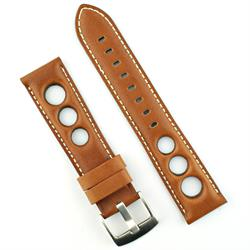 rally rallye watch strap band in honey brown tan horween leather with white stitching
