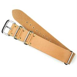 22mm Tan Vintage Leather Nato Watch Strap with Ecru Stitch