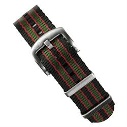 20mm Original Bond Nylon Seat Belt Nato Watch Band Strap in Red Green And Black brushed stainless steel hardware