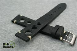 BandRBands 20mm 22mm Vintage Rally Rallye Watch Band Strap made from black Italian leather with ecru stitching