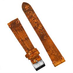 20mm Vintage Leather Watch Band Strap in Amber Italian Leather finished with an embossed croco print