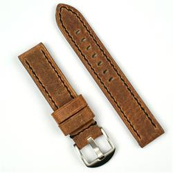 20mm watch band in dark brown crazy horse vintage leather with a black stitch