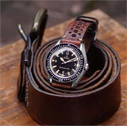 B & R Bands Vintage Rallye Racing Watch Band Strap made from chestnut brown Italian Leather on a Vintage Omega Seamaster 300