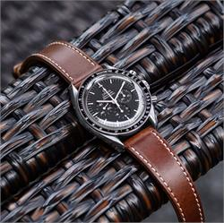 B & R Bands 20mm Horween Classic Leather Watch Strap Band made from Horween Chromexcel on a Omega Speedmaster Moon Watch