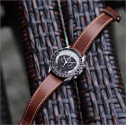 Horween Leather Watch Band Strap made from Chicago Horween Chromexcel leather on a vinrage Omega Speedmaster watch 20mm