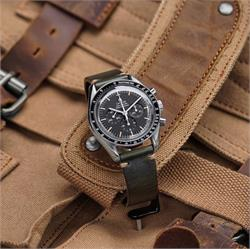 BandRBands 20mm Green Horween Vintage Leather Watch Band Strap on the Omega Speedmaster Moonwatch