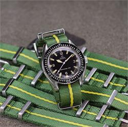 Marine Nationale Nato Strap Band made from a tight seat belt weave nylon on a vintage seamaster 300 dive watch