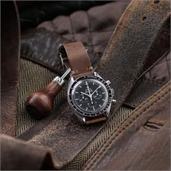 B & R Bands 20mm Natural Horween Chromexcel vintage Leather Watch Band Strap on the Omega Speedmaster moon watch