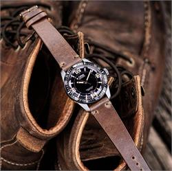 BandRBands 20mm Natural Horween Chromexcel C;assic Vintage Leather Watch Band Strap on a Oris 65 Dive Watch