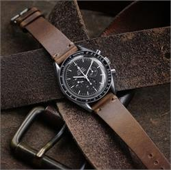 20mm Natural Horween Chromexcel vintage Leather Watch Band Strap on the Omega Speedmaster moon watch