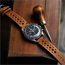 Omega SpeedMaster Vintage Leather Rallye Racing Watch Band Strap in Oak Italian Vintage Leather