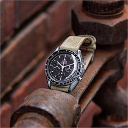 BandRBands 20mm Olive Classic Suede Watch Strap Band on the Omega Speedmaster Professional Watch