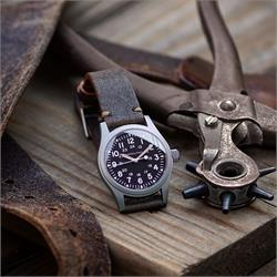20mm 22mm Distressed Horween Leather Watch Band in a classic Vintage design with handsewn khaki stitching on a Hamilton Khaki Field Military Watch BandRBands