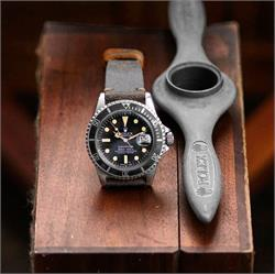B & R Bands 20mm Roadmaster Horween Classic Vintage Leather Watch Band Strap on a vintage Rolex Submariner 1680 watch