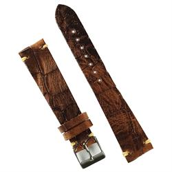 20mm Classic Vintage Leather Watch Strap Band in Rosewood Italian Leather finished off with an embossed croco print