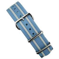 BandRBands 18mm 20mm 22mm Nato Strap Band in sky blue nylon with stainless steel hardware