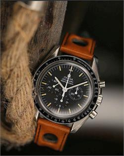 BandRBands 20mm Tan Rally watch Strap Band on the Omega Speedmaster watch
