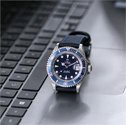 20mm 22mm 24mm Black Waterproof Sailcloth Watch Band Strap Blue Stitch Tudor Submariner Blue Dive Watch