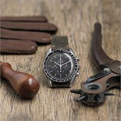 20mm 22mm Distressed Horween Leather Watch Band in a classic Vintage design with handsewn khaki stitching on a Omega Speedmaster Moonwatch BandRBands
