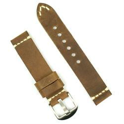 20mm watch band in field drab leather with a minimal stitch design
