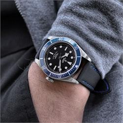 22mm Black Waterproof Sailcloth Watch Band Strap Blue Stitch Tudor Black Bay Blue Dive Watch